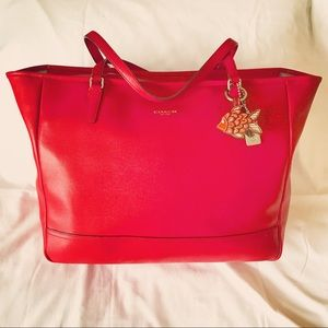 Coach Saffiano Leather Business Tote, Red ❤️❤️❤️